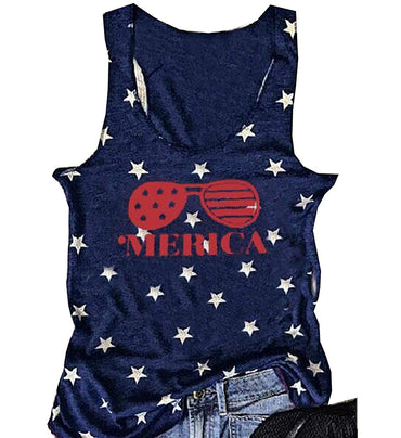 Women American USA Flag Print Tank Top