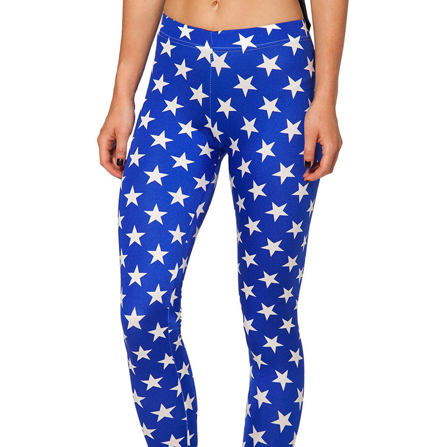 Ensasa Women'S Fashion Digital Print Blue Stars Spandex Strenchy Leggings