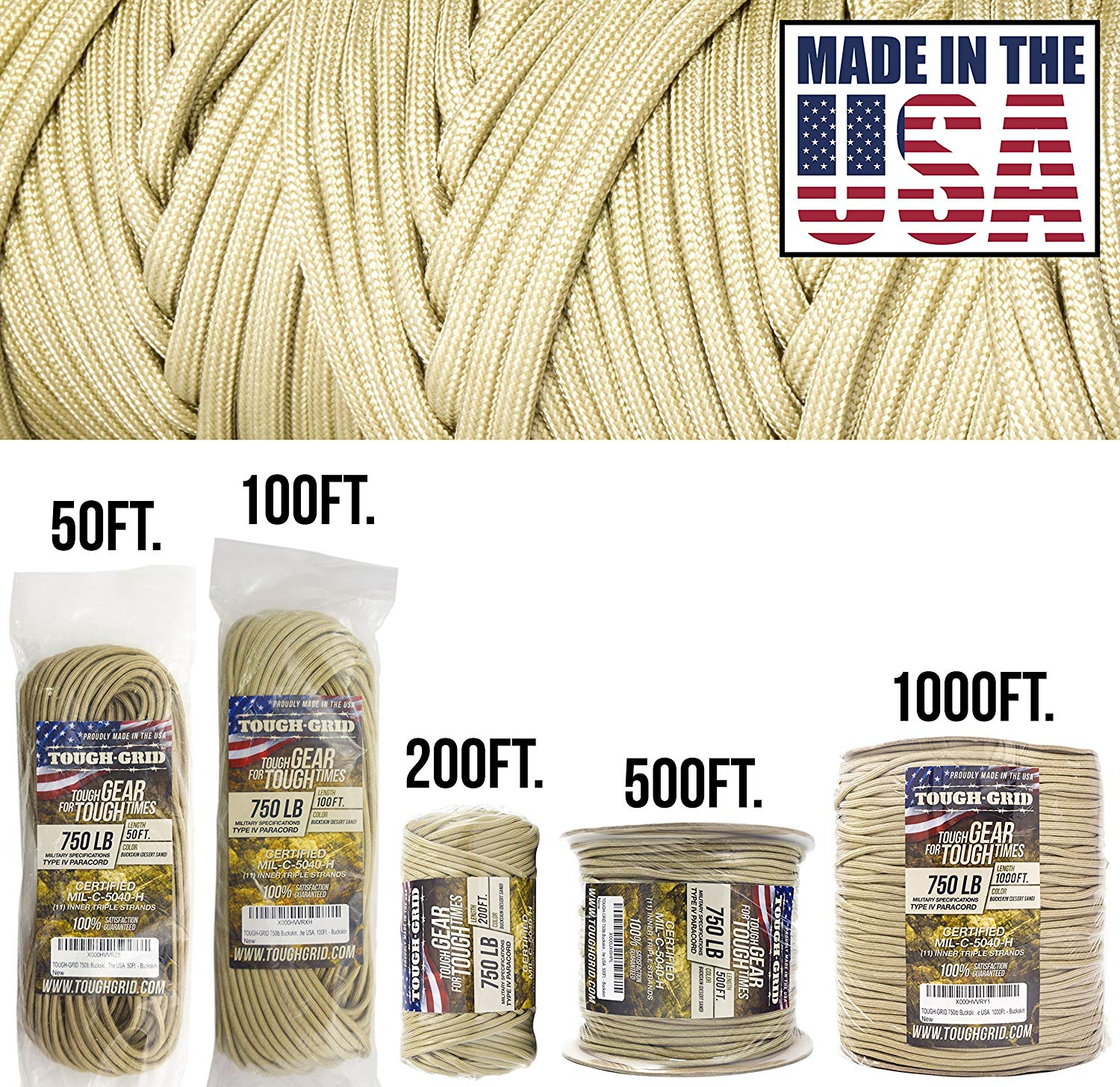 Genuine Mil Spec Type IV 750lb Paracord Used by US Military Safety - Neon - 100/% Nylon TOUGH-GRID 750lb Neon Safety Orange Orange Paracord//Parachute Cord 200Ft MIl-C-5040-H