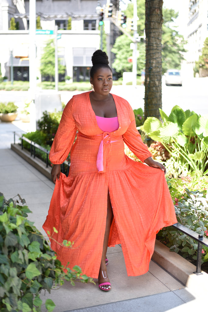 PLUS ORANGE BELTED MAXI DRESS