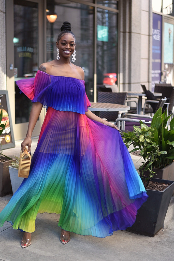 RAINBOW OFF SHOULDER MAXI DRESS