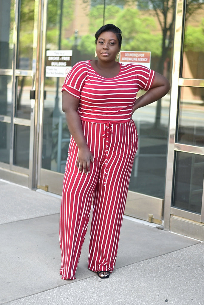 PLUS RED STRIPED JUMPSUIT