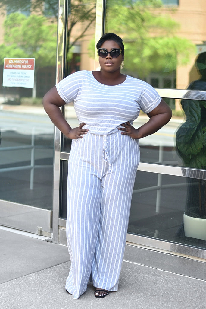 PLUS GREY STRIPED JUMPSUIT