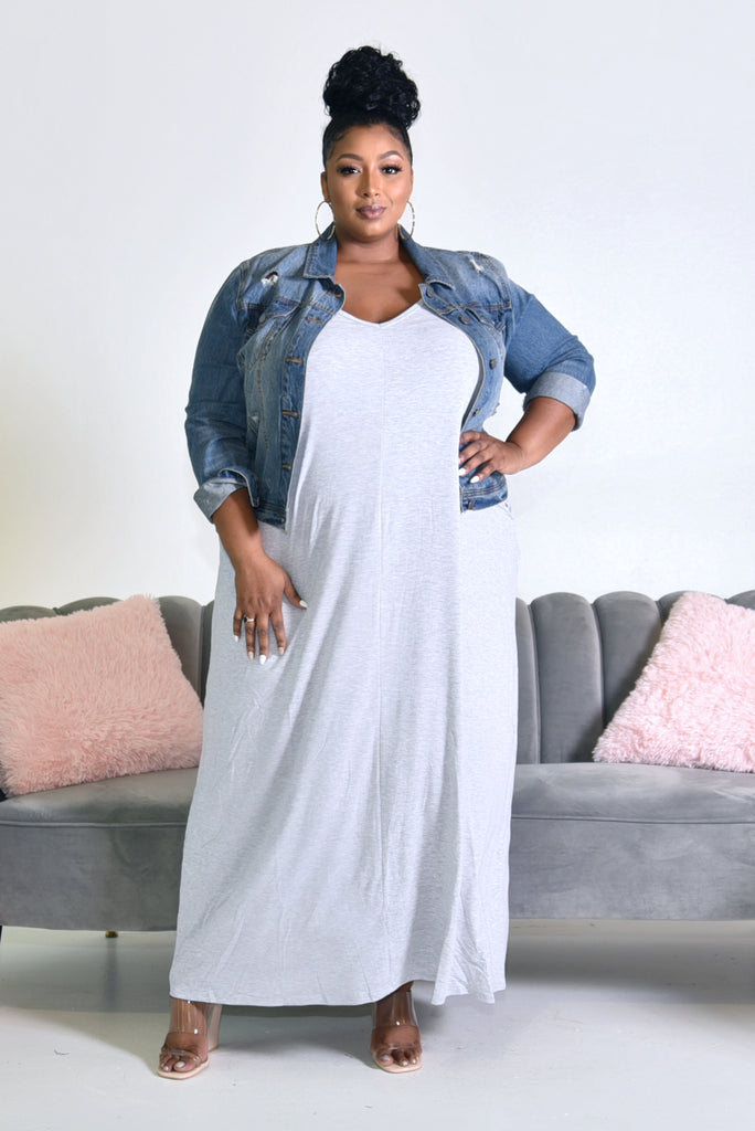 PLUS GREY STRAP MAXI DRESS