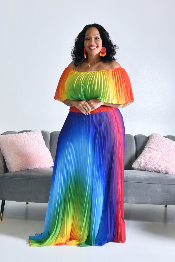 PLUS RAINBOW MAXI DRESS