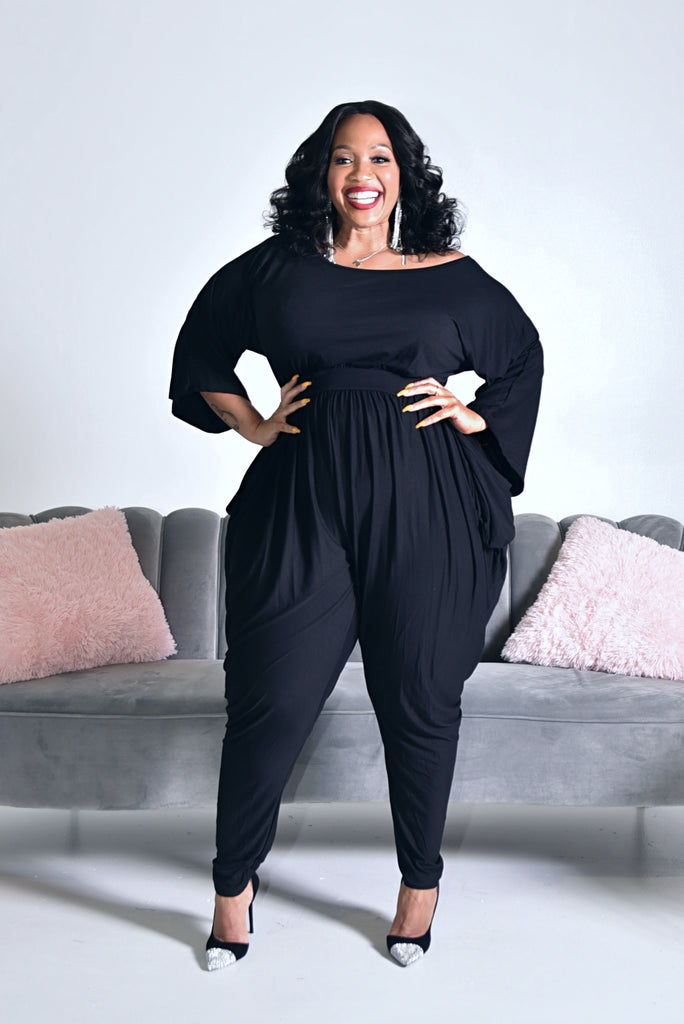 PLUS BLACK HAREM JUMPSUIT