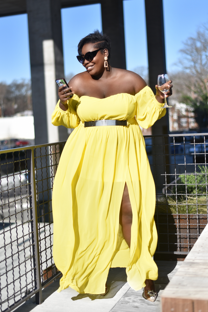GRAND ENTRANCE PLUS MAXI DRESS (YELLOW )