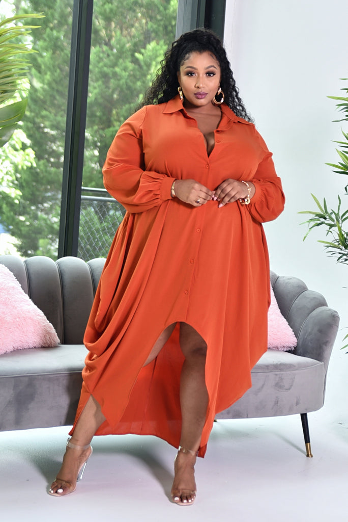 RUST MAXI SHIRT DRESS (PRE ORDER)