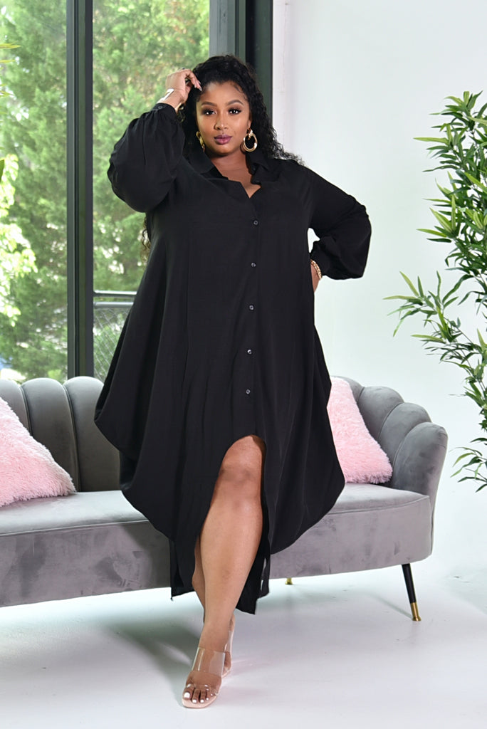 BLACK MAXI SHIRT DRESS (PREORDER)