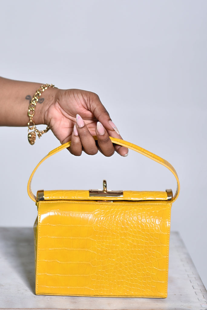 CROC TOP HANDLE BAG (MUSTARD)