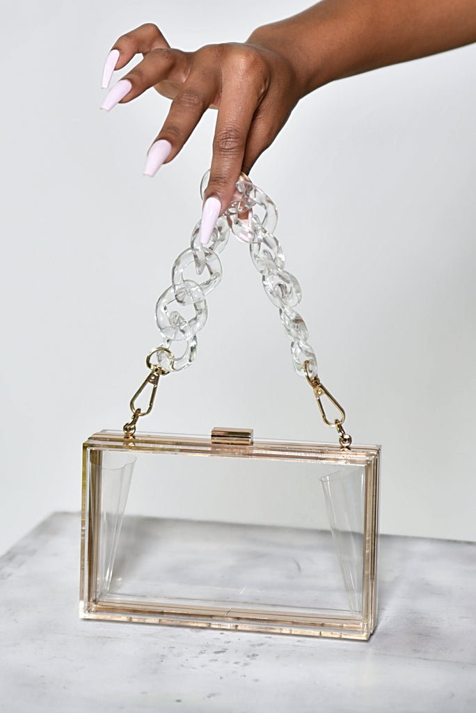 CLEAR CHAIN ACRYLIC BOX BAG