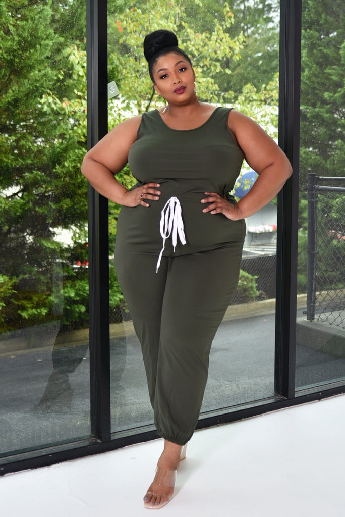 PLUS JOGGER JUMPSUIT (OLIVE)