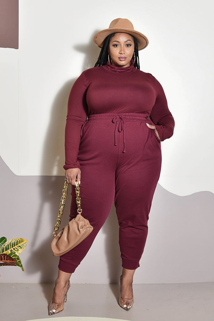 PLUS T-N JOGGER SET (BURGUNDY)