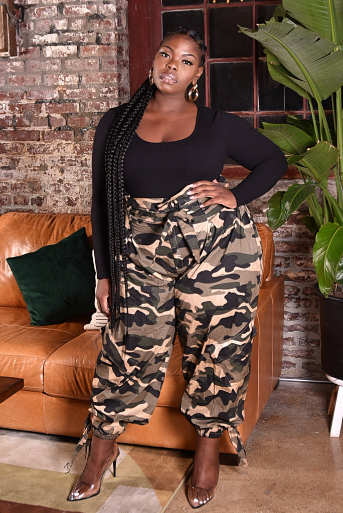 PLUS CAMO PAPERBAG WAIST PANTS