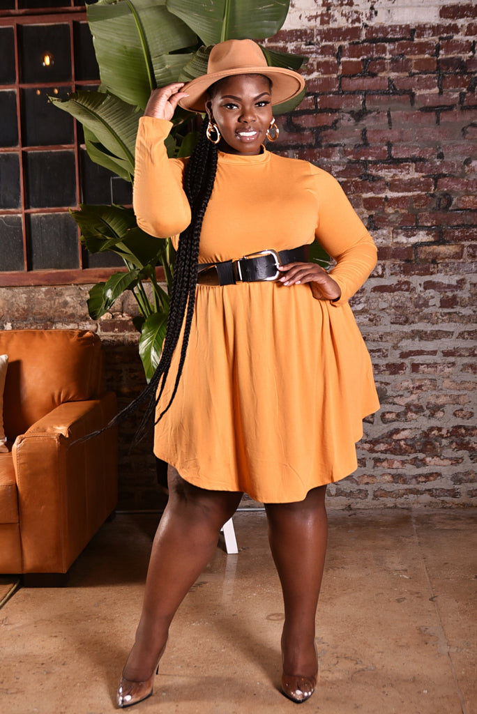 PLUS SWING DRESS (MUSTARD)