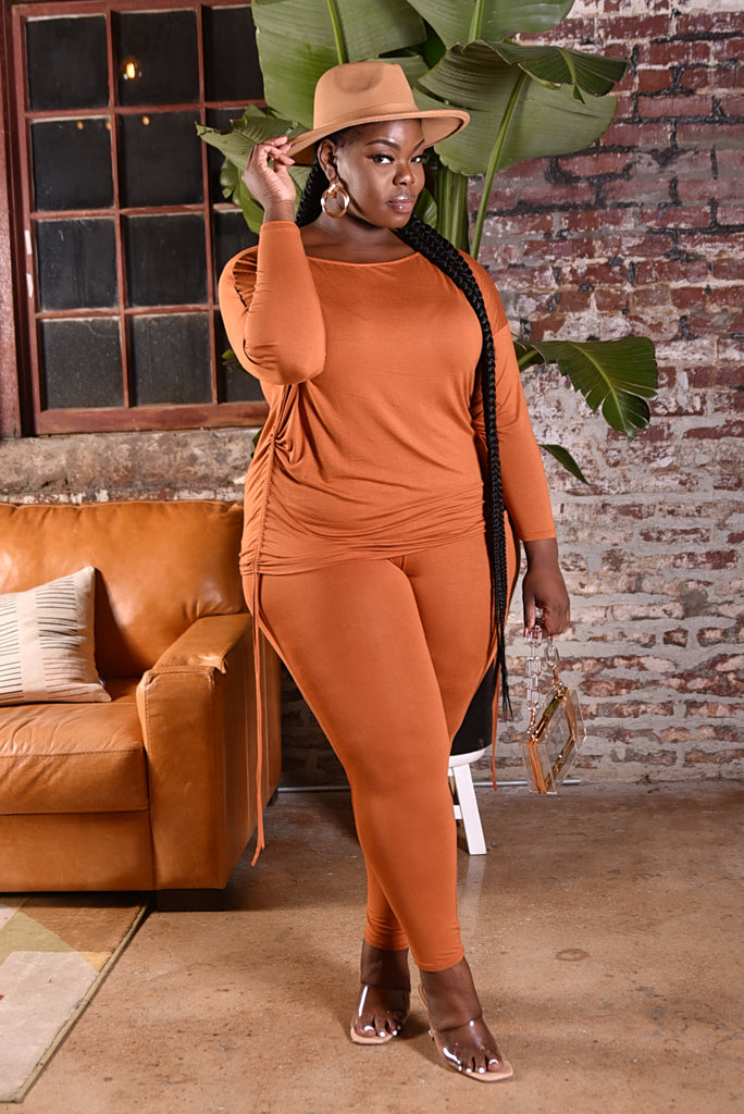 PLUS DRAWSTRING LEGGING SET (RUST)