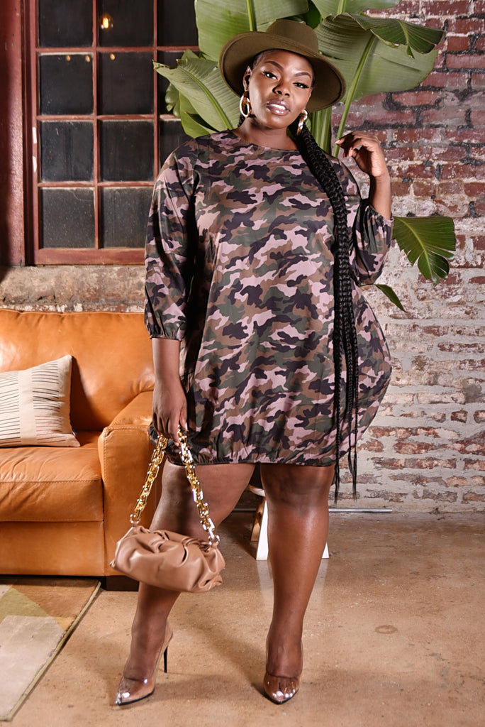 PLUS CAMO BUBBLE DRESS
