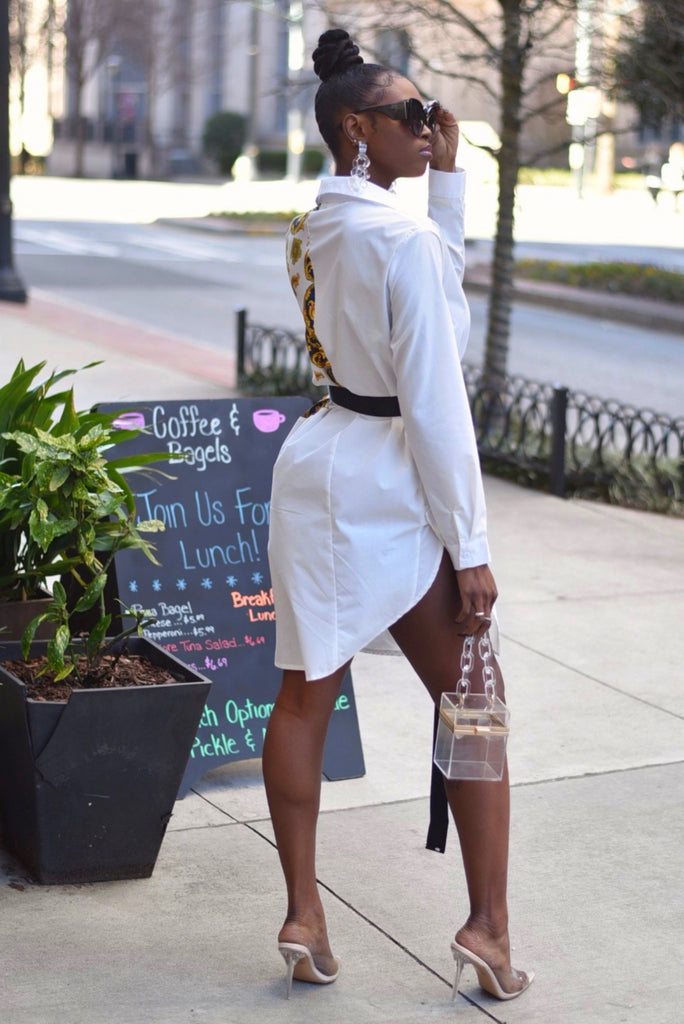 ASYMMETRICAL BELTED SHIRT DRESS