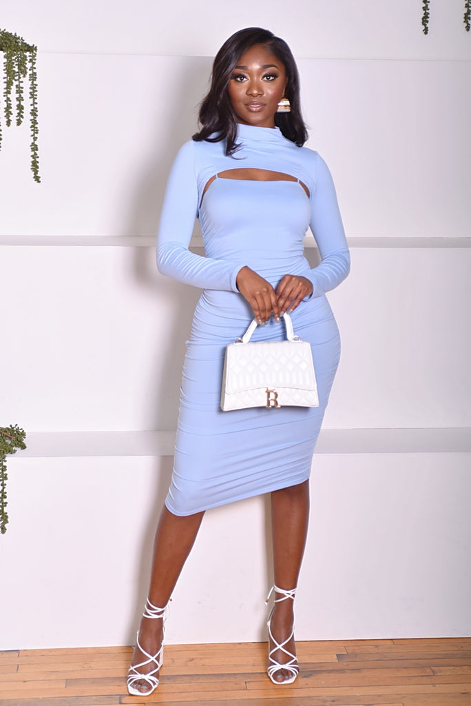 RUCHED DRESS SET (LIGHT BLUE)