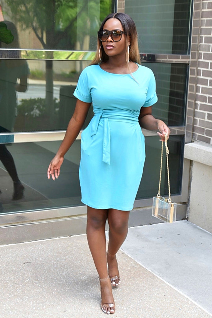 BLUE BELTED T-SHIRT DRESS (FINAL SALE)