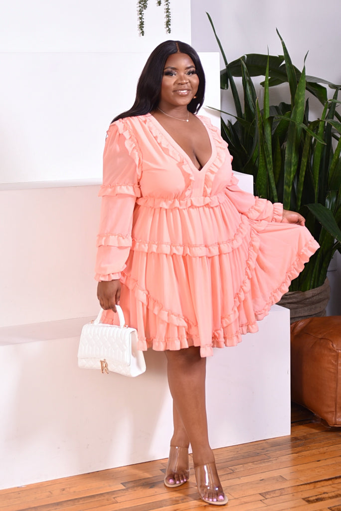 PLUS RUFFLE MINI DRESS (PEACH) RESTOCKED PREORDER