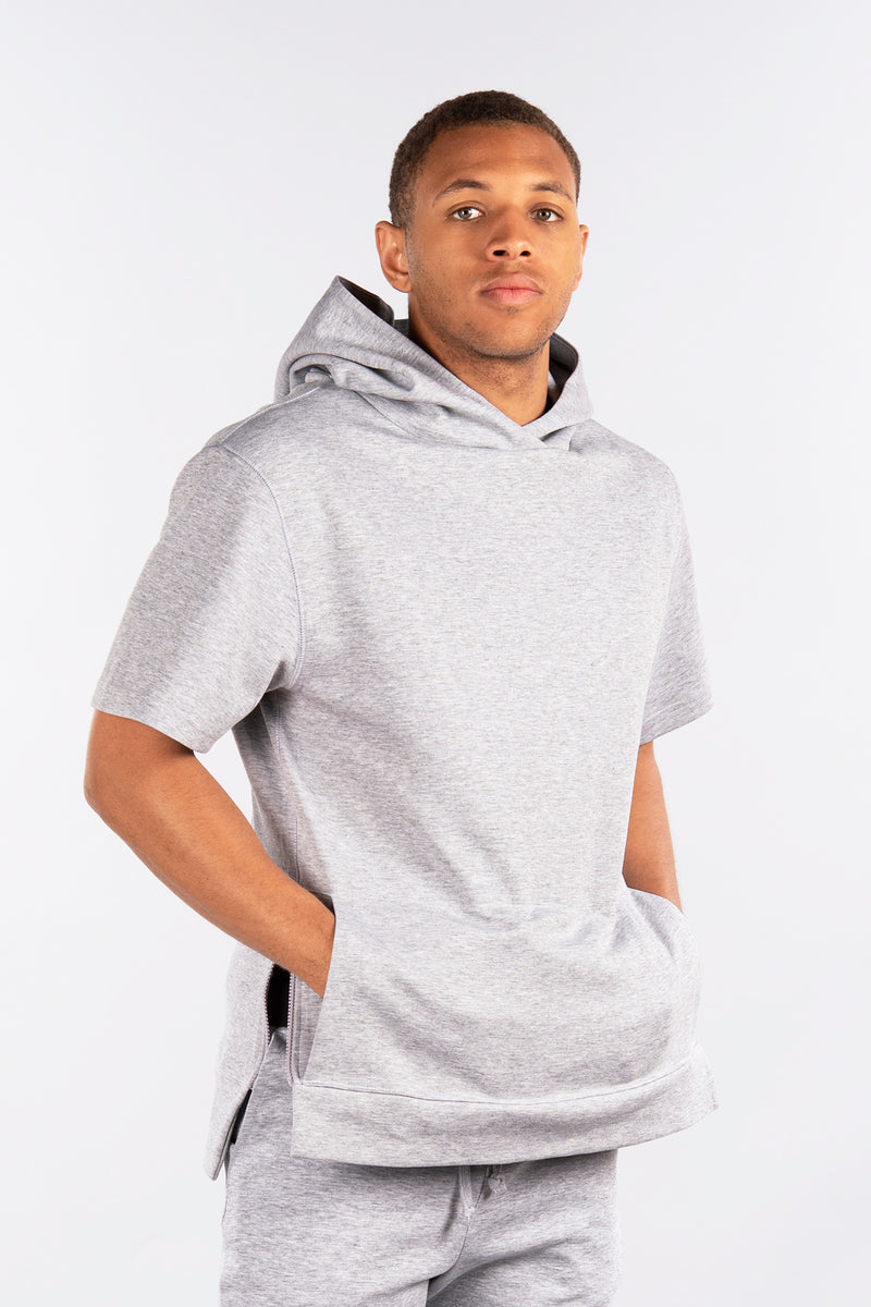 Side-Zip Short Sleeve Pullover Hoodie, Performance Fleece