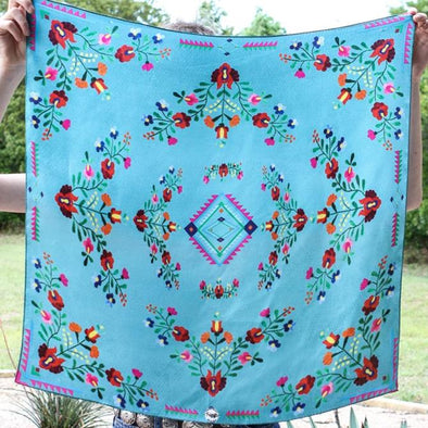 Southwestern Turquoise Floral Mexican Aztec Print 100% Silk Fringe Scarf