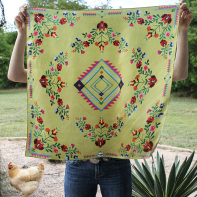 Southwestern Yellow Floral Mexican Aztec Print 100% Silk Fringe Scarf