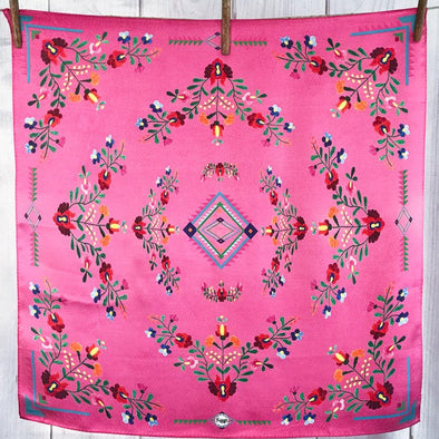 Southwestern Pink Floral Mexican Aztec Print 100% Silk Fringe Scarf