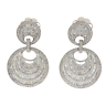 Fancy 18K White Gold 2.10 CT Round & Baguette Diamonds Round Dangle Earrings