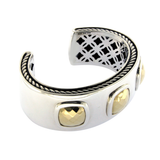 "David Yurman Sterling Silver 18k Gold Albion Cushions Cuff Bracelet 7"" »B1 $2850"