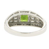 1 CT Green Tourmaline & 1.24 CT Diamonds in 14K White Gold Cocktail Ring