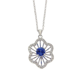 Rose Cut Sliced 27 CT Blue Sapphire 0.43 CT Diamonds 14K White Gold Necklace