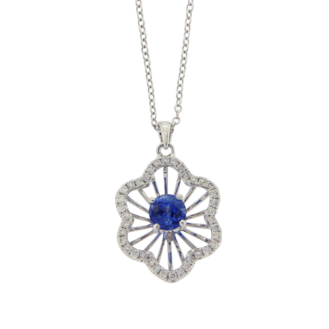 Flower 0.81 CT Blue Sapphire 0.33 CT Diamonds 14K White Gold Necklace