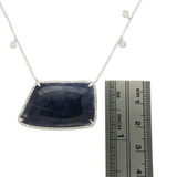 Rose Cut Sliced 26 CT Blue Sapphire 0.58 CT Diamonds 14K White Gold Necklace