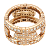 Bvlgari Bulgari 18K Rose Gold Diamond Parentesi Pavé Eternity Band Ring Size 6