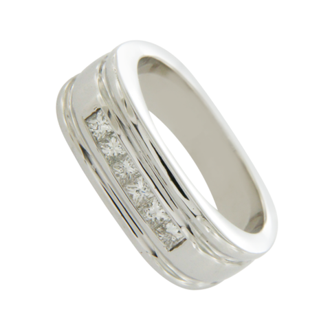 14K White Gold 0.85 CT White Diamonds Wedding Band Men's Ring