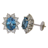 TIFFANY & CO 950 Platinum 14 mm Aquamarines & Diamonds Stud Earrings »BO3