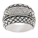 Scott Kay 925 Sterling Silver Diamonds Basket Weave Ring Size 6.75 »U47
