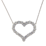 "Au Tiffany & Co. 950 Platinum Diamond Large Heart Necklace Size 18""  »ED1 $9700"