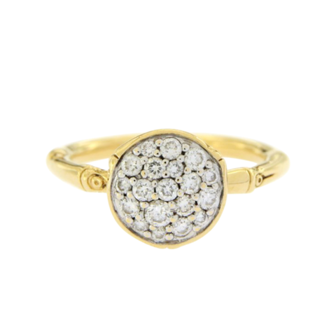 Auth JOHN HARDY 18K Yellow Gold Diamond Metallic Bamboo Ring  $2600