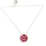 Rose Cut Sliced 12.38 CT red Sapphire 0.40 CT Diamond 14K Rose Gold Necklace