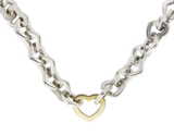 "Auth Tiffany & Co 18K Gold & Sterling Silver Hearts Link Necklace Size 17"" »U52"