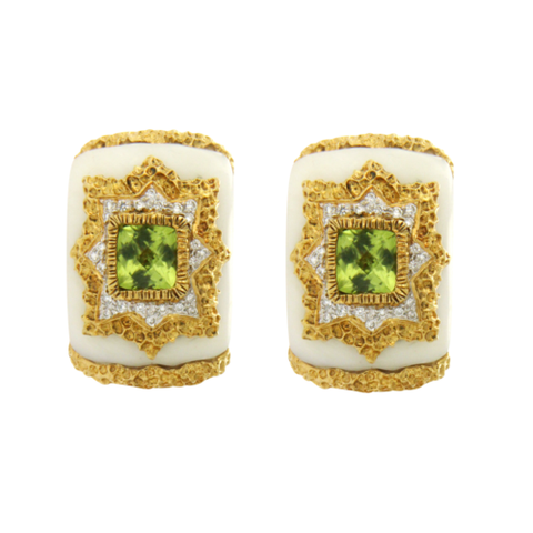 Estate 18K Yellow Gold Peridot & 0.36 Diamonds with White Onyx Earring