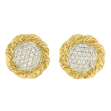 Auth John Hardy Classic Chain 18K Yellow Gold Diamond Stud Earrings  »ED32