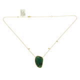 Rose Cut Sliced 17.95 CT Emerald 0.31 CT Diamonds 14K Yellow Gold Necklace