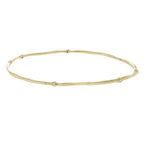 "Auth IPPOLITA Hammered 18K Yellow Gold Six Diamonds Bangle Size 7.5"" »  B1"