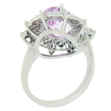 4.26 CT Pink Kunzite & 0.75 CT Diamonds in 14K White Gold Cocktail Ring