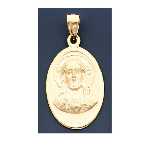 Fine 14K Yeloow Gold 62mm Jesus Hollow Charm Pendant