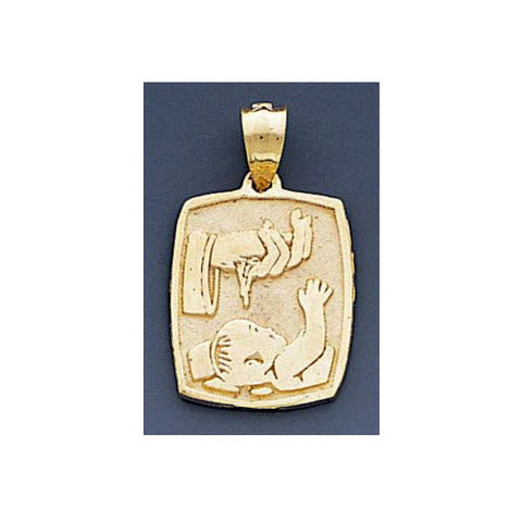 Fine 14k Yellow Gold High Polished Baptism Pendant